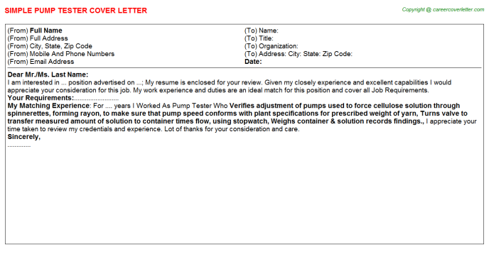 pump tester cover letter template