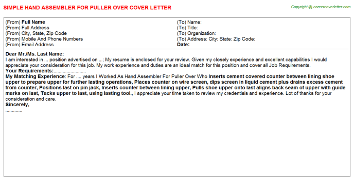 Hand Assembler For Puller over Cover Letter Template