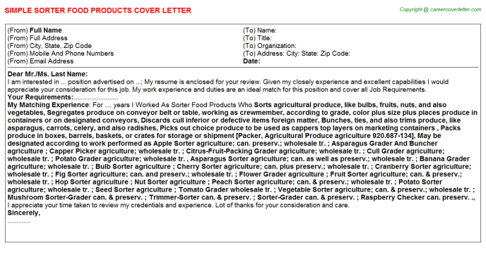 sorter food products cover letter template