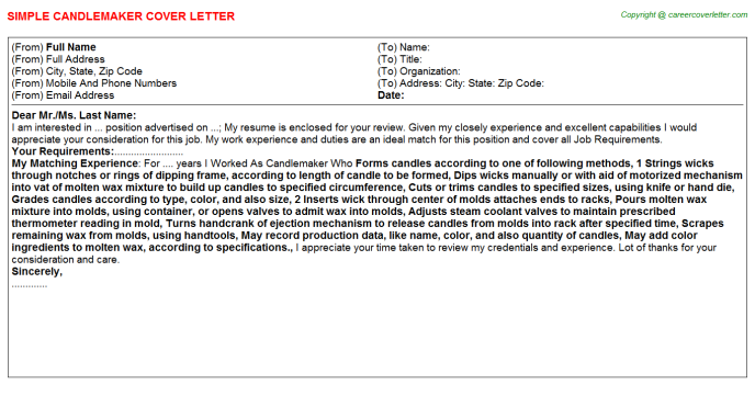 Candlemaker Job Cover Letter Template
