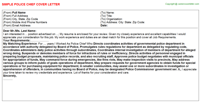 Chief Of Police Cover Letter Onvacationswall Com