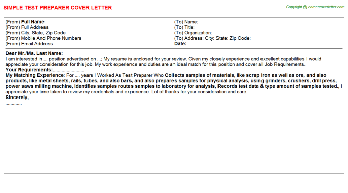 Test Preparer Job Cover Letter Template