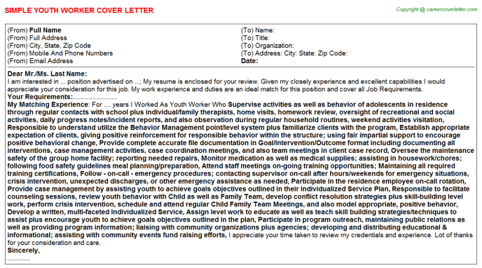 Youth Worker Cover Letter Template