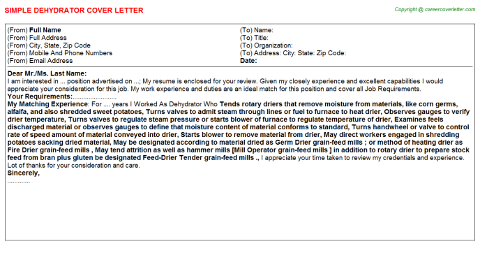 Dehydrator Job Cover Letter Template