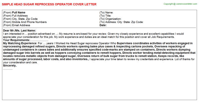 head sugar reprocess operator cover letter template