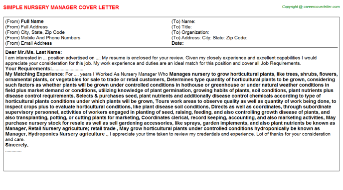 Nursery Manager Cover Letter Template