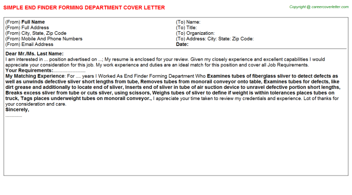 End Finder Forming Department Cover Letter Template