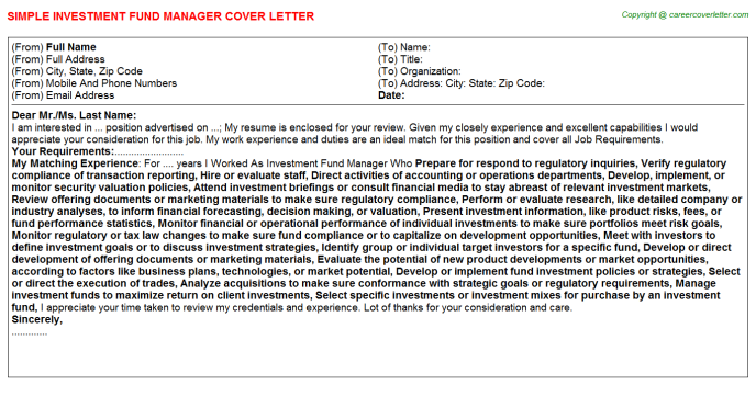 Investment Fund Manager Job Cover Letter
