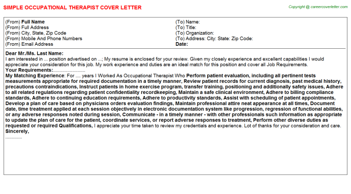 Occupational Therapist Cover Letter Template