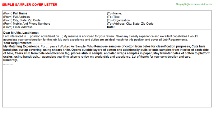 Sampler Cover Letter Template