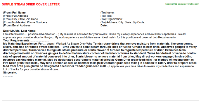 steam drier cover letter template