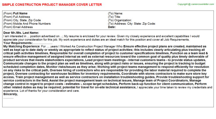 Construction Project Manager Cover Letter Template