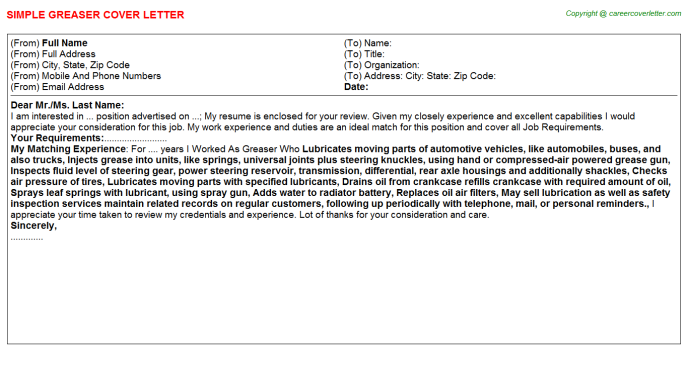 Greaser Job Cover Letter Template