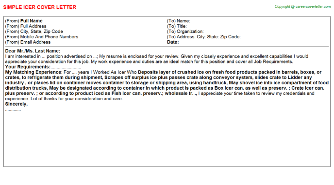 Icer Cover Letter Template