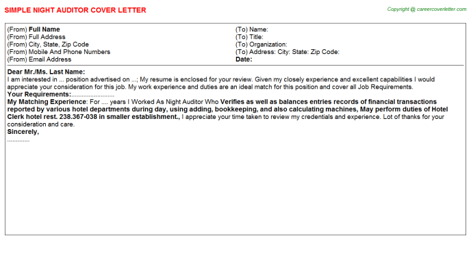 night auditor cover letter template