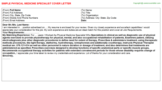 Physical Medicine Specialist Cover Letter Template