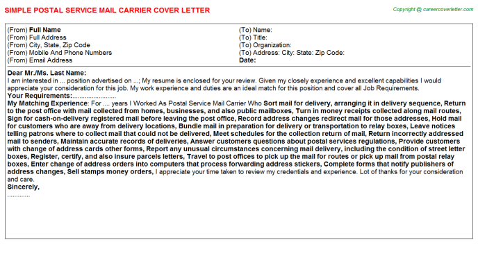 Postal Service Mail Carrier Job Cover Letter Template