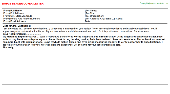 Bender Cover Letter Template