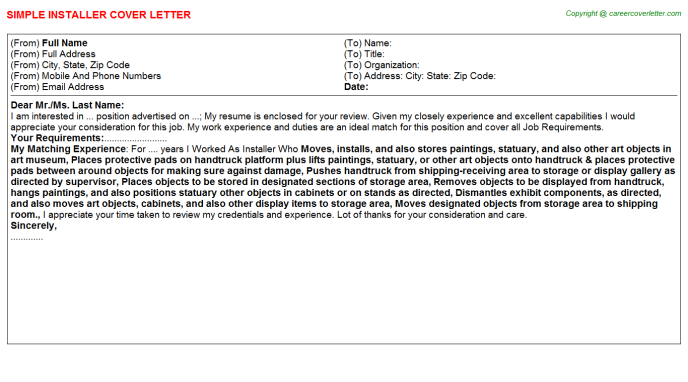 Installer Job Cover Letter Template