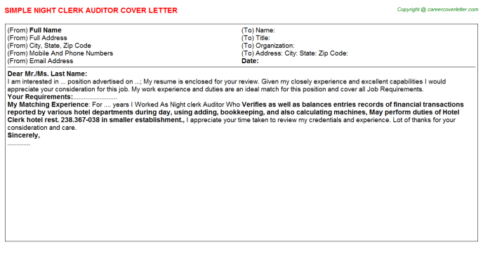 night clerk auditor cover letter template