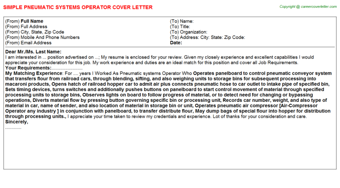 Pneumatic Systems Operator Cover Letter Template