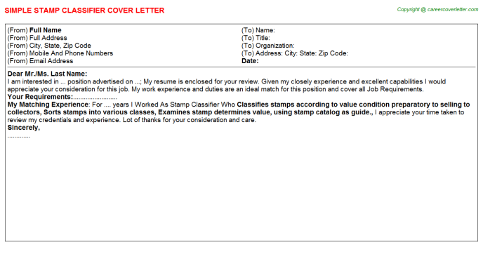 Stamp Classifier Job Cover Letter Template