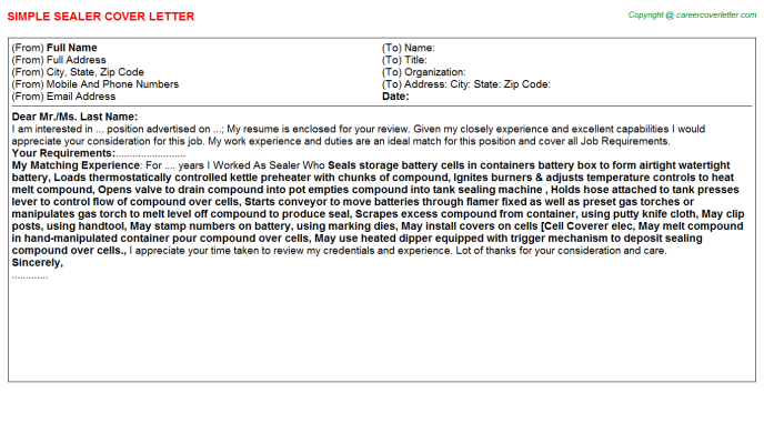 Sealer Cover Letter Template