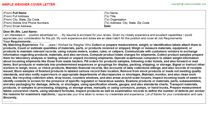 Weigher Cover Letter Template