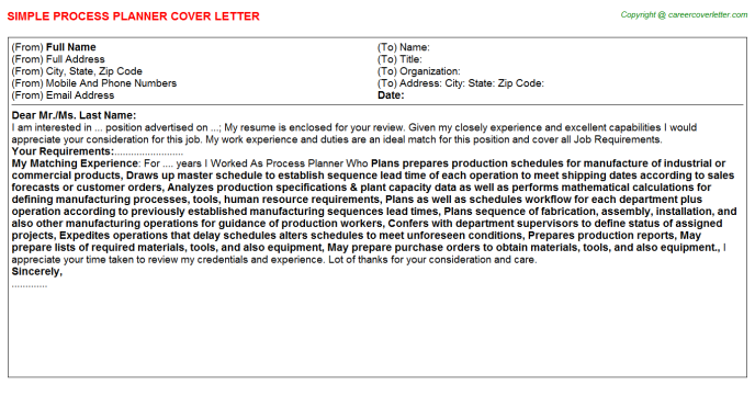Process Planner Job Cover Letter Template