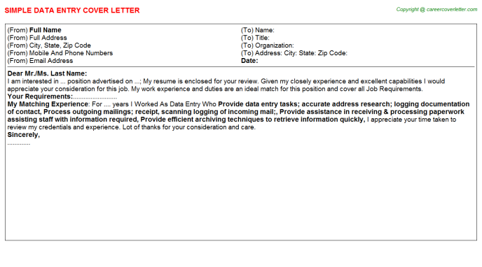 Data Entry Cover Letter Template