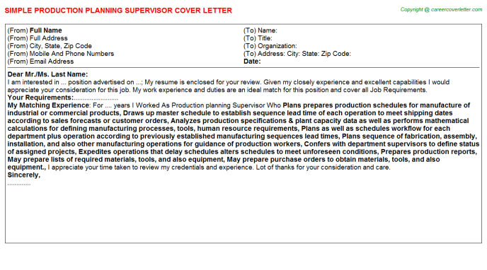 production planning supervisor cover letter template