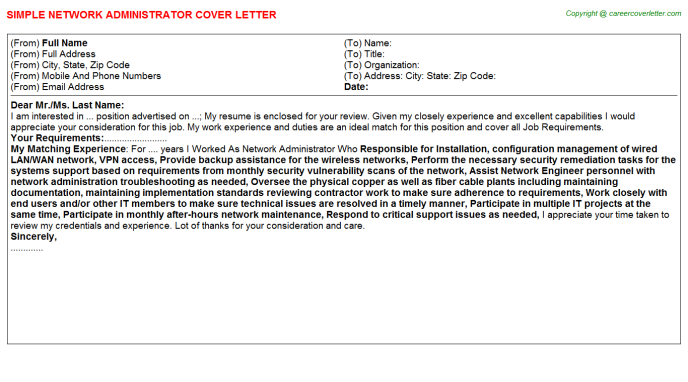 Network Administrator Cover Letter Template