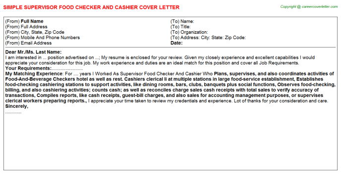 supervisor food checker and cashier cover letter template