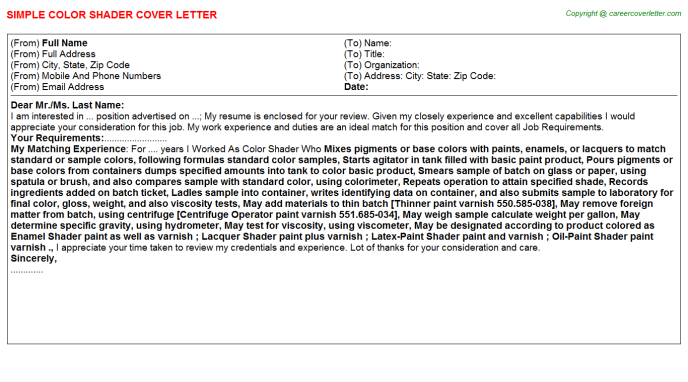 Color Consultant Cover Letters | Job Cover Letters