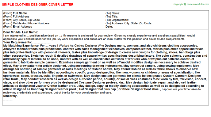 Clothes Designer Cover Letter Template