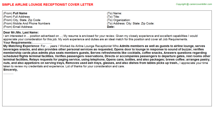 Airline Lounge Receptionist Cover Letter Template
