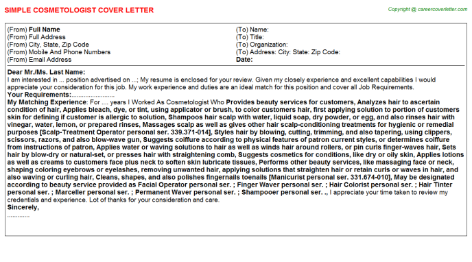 Cosmetologist Job Cover Letter Template