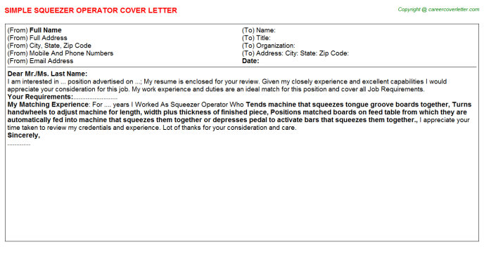 Squeezer Operator Cover Letter Template