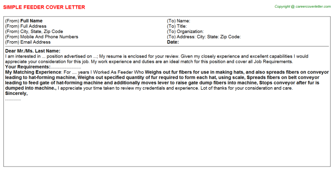 Feeder Cover Letter Template