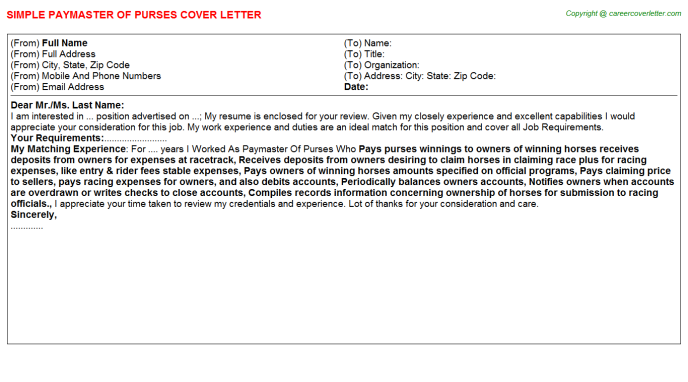 Paymaster Of Purses Job Cover Letter Template