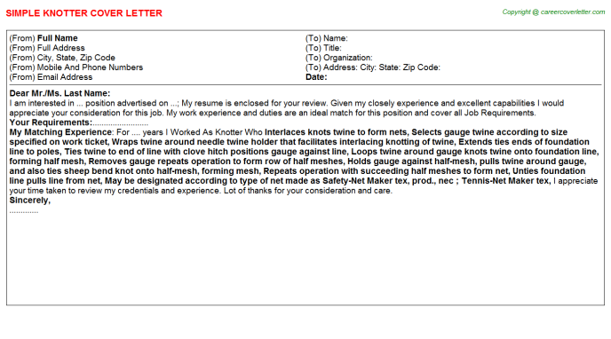 Knotter Job Cover Letter Template