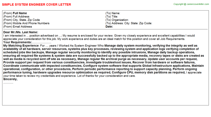 System Engineer Cover Letter Template
