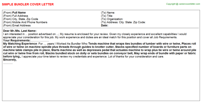 Bundler Job Cover Letter Template