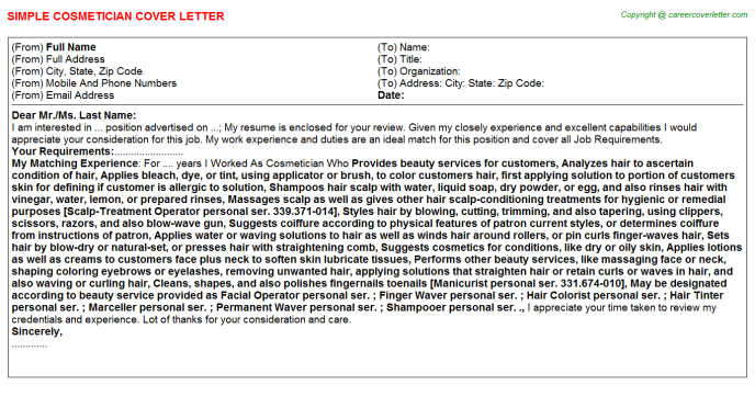 Cosmetician Cover Letter Template