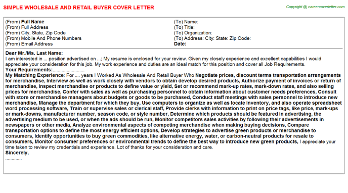 Wholesale And Retail Buyer Job Cover Letter