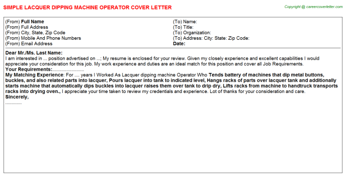 lacquer dipping machine operator cover letter template
