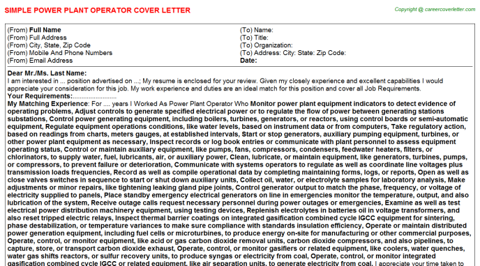 Power Plant Operator Cover Letter Template