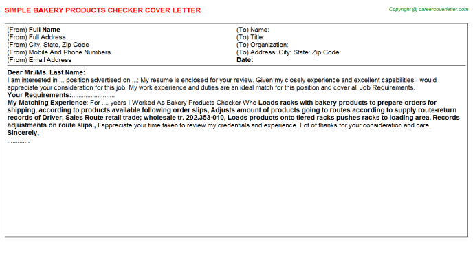 Bakery products checker job cover letter (#3846)