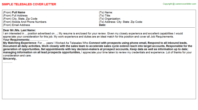 Telesales Cover Letter Template