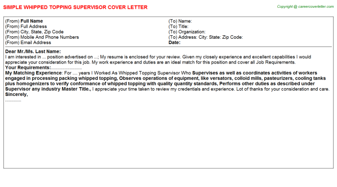 Whipped Topping Supervisor Cover Letter Template